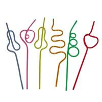 25PK Assorted Shape Plastic Straws Drinking Straws Party Colourful Funny Straws