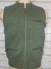 Harley of Scotland Mens 100% Wool Hunting Vest Sweater Small Green Zip Pockets