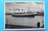 AK 1930-40er Schiff Dampfer MONTE OLIVIA Ausreise Hamburg Hafen Gebäude Seefahrt