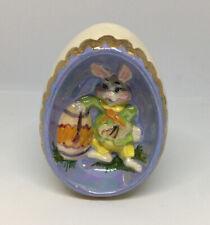 "Vintage 1976 Byron Molds Ceramic Easter Egg Diorama Painting Decor Figurine ~4"""