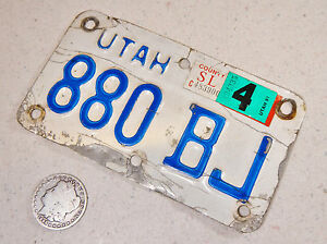 UTAH MOTORCYCLE LICENSE PLATE 880 BJ