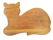 """Vintage Wooden Cat Shaped Cutting Board Farmhouse Country 14"""" x 10"""" x 5/8"""" Flaws"""