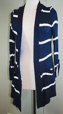 SPLENDID Open Cardigan Wrap Sweater - Blue/white Stripe - Women's Small