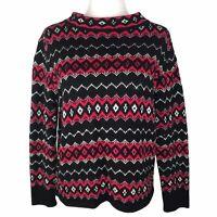 Vintage Liz Claiborne Fair Isle Diamond Sweater Women Medium Red Black Nordic