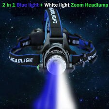 10W Zoom Rechargeable Blue + White Fishing Cree T6 LED Light Headlamp Head Light