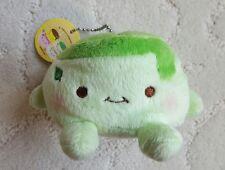 Japan Green Tea Pudding Plush Soft Squishy Hannari Tofu Ballchain Keychain Strap