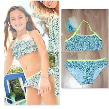 NEW GIRLS MONSOON Elena Bikini Age 7-8 years, blue white & lime frill trim set.