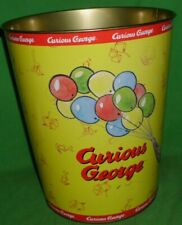 """Curious George Balloons Metal Garbage Waste Trash Can Yellow & Red 10"""" X 8-3/4"""""""