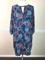 GAP Womens Dress Blue Floral Keyhole Neck 3/4 Sleeve Shift Size S