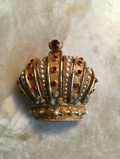 Vintage Art crown brooch pearls turquoise red stones signed