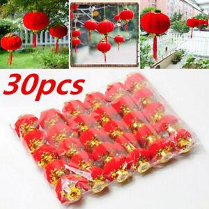 30pcs/kit Chinese New Year Red Paper Lanterns Chinese Hang Lantern Hanging Decor