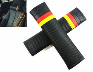 2pcs NEW GERMAN FLAG LOGO Carbon Fiber Seat Belt Cover Shoulder Pad Cushion