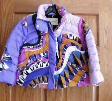 Emilio Pucci AUTH Pink Purple Blue Puffer Crop Quilted Jacket 6 Nikki Wavy Print