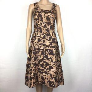 L.K. Bennett Brown 100% Silk A-Line Sheath Sleeveless Tea Awe Dress Size 8 (AR8)