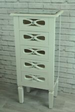 White Mirrored 5 Drawer Tall Chest of Drawers with Crystal Style Handles