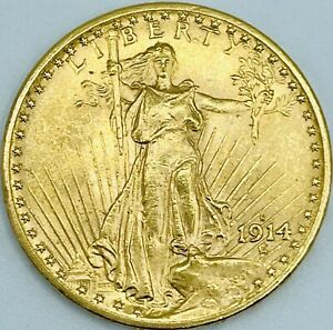 1914-S UNCIRCULATED $20 SAINT GAUDENS | GOLD DOUBLE EAGLE | BEAUTIFUL LUSTER