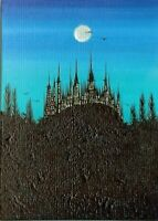 ACEO Original Moon Gothic Fantasy Castle Halloween Ravens Painting Art ATC HYMES