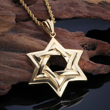 18k Gold Stainless Steel Biker Gothic Large star of David Pendant Necklace 22''