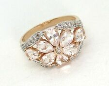14K Pink Gold Ring w CZs and Diamonds 5.3 grams size 10 1/4   lot 35d2