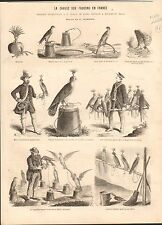 Hunting Falcon Falconer Chasse Faucons Fauconnier France GRAVURE OLD PRINT 1867
