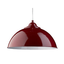 Sanford Red Half Dome Ceiling Pendant Light Fitting Lighting White Inner Shade