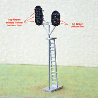 2 x HO OO scale LEDs made railroad branch block signals 3 aspects +2 aspects #SL