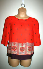 Womens MAEVE Anthropologie Red Boho Printed 3/4 Sleeve Sheer Top Size 6