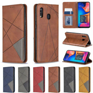 For Samsung Galaxy A20E A30 A70 Magnetic Leather Flip Wallet Card Stand Cover