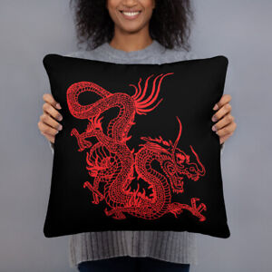 Red Chinese Dragon Black Pillow Asian Tradition Tattoo Style Japanese