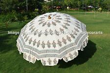 White Hand Block Print Wedding Decor Garden Umbrella Beach Sun Patio Parasol