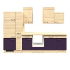 Küchenzeile Küche ohne Elektrogeräte Küchenblock Einbauküche 310 cm aubergine
