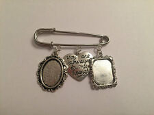 Grooms Memory Pin with Oval and Square Photo Frames and Heart Charm Wedding