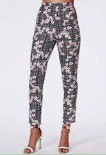 BNWT Missguided Floral Check Skinny Trousers Size 6 High Waisted Black Pink Nude