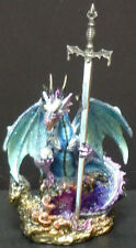JEWEL  Blue Dragon on Rock with Sword    Statue   H5.25""