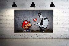 Banksy Street Art  Super Mario Graffiti  Canvas 24 X 16 Giclee Print