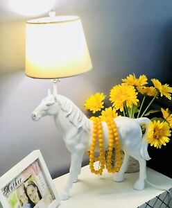 Resin Horse Lamp White Lighting Figurine Cowboy Gift Home Decor Living For Dad