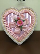 Vintage HEART SHAPED Candy BOX Pink Plastic Flower Satin Lace Valentines Day 12""
