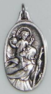 St. Christopher Holy Medal 'I am a Catholic Contact Priest'  Patron of Travelers
