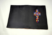 Black Bible Cover Thai Tribal Crafts Hmong Made in Thailand Stitched Crucifix