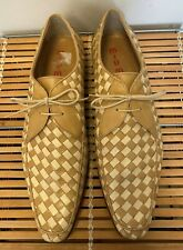 Miu Miu Beige Two Tone Woven Leather Penny Lace Up Shoes Sz 8