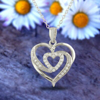 Heart Pendant Necklace Sterling Silver 925 White Gold Plated with Diamond