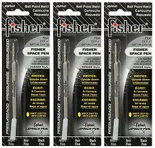 THREE Fisher SPR Series Black Ink / Fine Point Refills #SPR4F