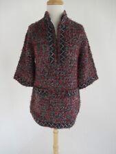Chanel Cashmere Tunic Sweater Jacket Long Chunky Mulit Tulle-Ribbon-Yarns Fr.38