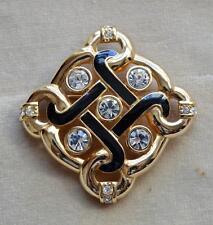 Vintage Stamped Swan Goldtone Black Enamel SWAROVSKI Crystal RHOMBUS Pin Brooch
