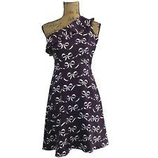 NEW Banana Republic Dress 0 Petite XXS One Shoulder Ruffle Wine Bow Print A Line
