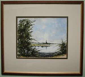 Irish Art Original Oil Watercolour Painting HILLSBOROUGH LAKE, by DM JOHNSON