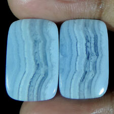 Best Offer Natural Blue Lace Agate cushion Shape Pair Cabochon Loose Gemstone
