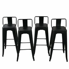 "30"" High Bar Stool w/ Bar Stool Low Back Footrest Indoor/Outdoor Set of 4, Black"