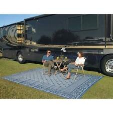 Patio Mat Rv Indoor Outdoor Camping Beach Rug Reversible Durable Blue, 9x12 ft