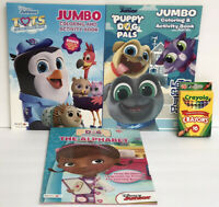 3 Disney Junior ABC Workbook & Jumbo Coloring Activity Book + Crayons Preschool